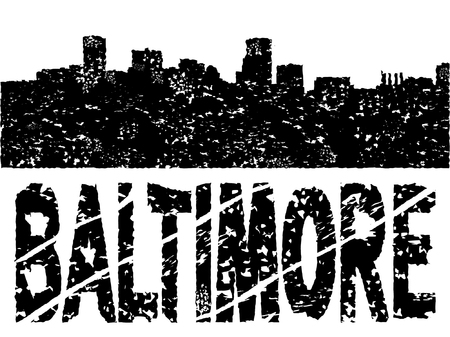 baltimore: Grunge Baltimore skyline with text vector illustration Illustration