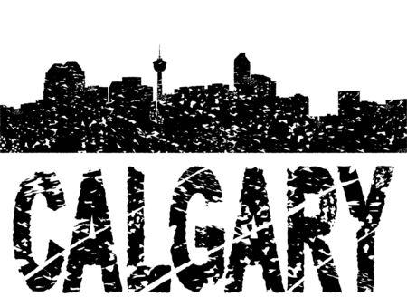 calgary: Grunge Calgary skyline with text vector illustration Illustration