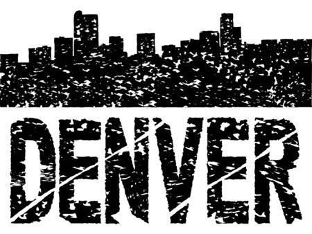 denver: Grunge Denver skyline with text vector illustration Illustration