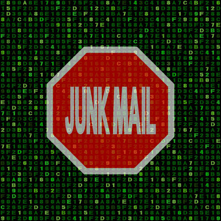 junk mail: Stop Junk Mail sign on hex code illustration Stock Photo