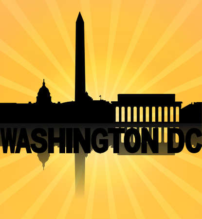 Washington DC skyline reflected with sunburst illustration illustration