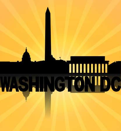 dc: Washington DC skyline reflected with sunburst illustration Stock Photo