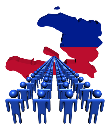 multitude: Lines of people with Haiti map flag illustration Stock Photo