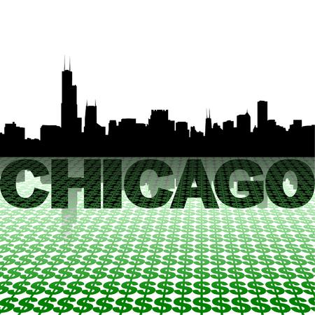 chicago skyline: Chicago skyline reflected with dollar symbols vector illustration Illustration