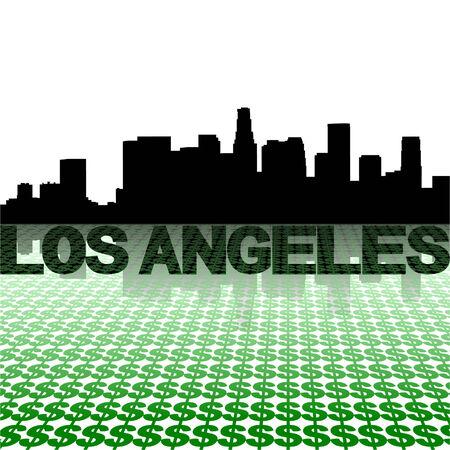angeles: Los Angeles skyline reflected with dollar symbols vector illustration Illustration