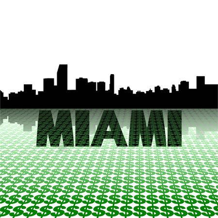 Miami skyline reflected with dollar symbols vector illustration Vector