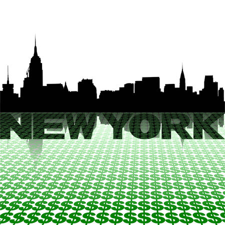 new york skyline: New York skyline reflected with dollar symbols vector illustration Illustration