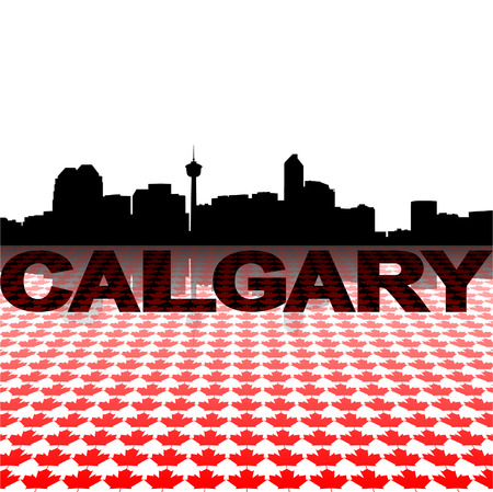 calgary: Calgary skyline with maple leaves foreground vector illustration