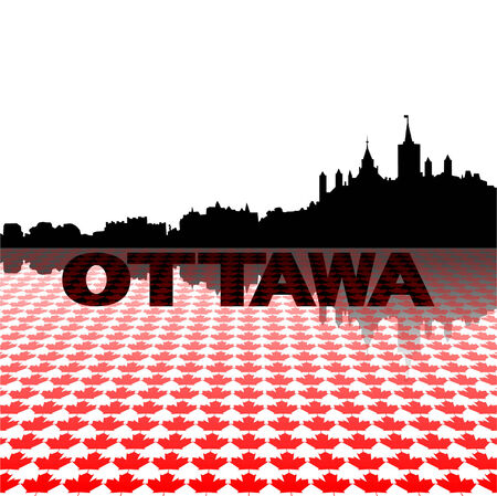 Ottawa skyline with maple leaves foreground vector illustration Vector