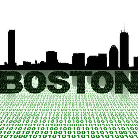 boston skyline: Boston skyline with binary foreground vector illustration