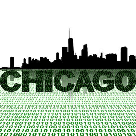 chicago skyline: Chicago skyline with binary foreground vector illustration Illustration