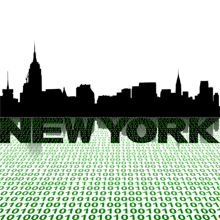New York skyline with binary foreground vector illustration Vector