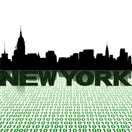 new york skyline: New York skyline with binary foreground vector illustration