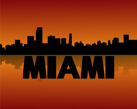 Miami skyline reflected at sunset vector illustration Vector