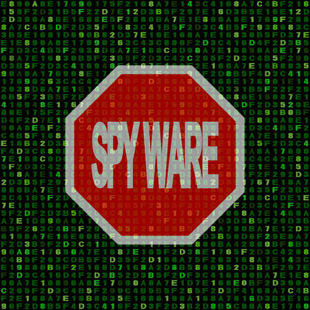 hex: Stop spyware sign on hex code illustration
