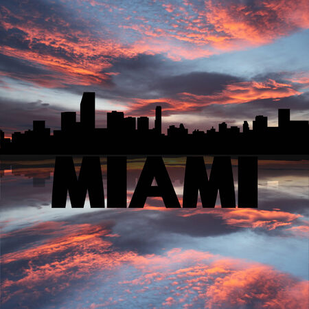 Miami skyline reflected with text and sunset illustration illustration
