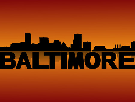 baltimore: Baltimore skyline reflected at sunset vector illustration Illustration