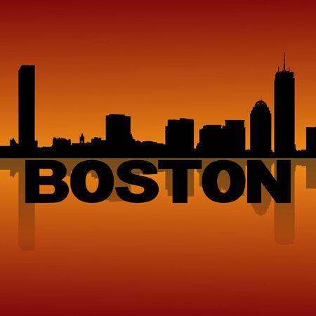 boston skyline: Boston skyline reflected at sunset vector illustration