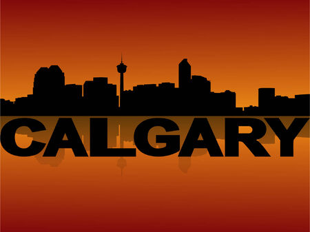 calgary: Calgary skyline reflected at sunset vector illustration
