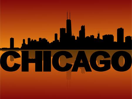 chicago skyline: Chicago skyline reflected at sunset vector illustration