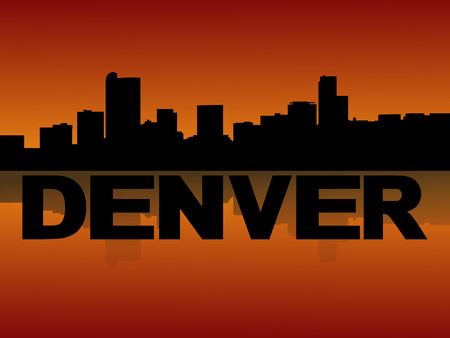 denver: Denver skyline reflected at sunset vector illustration
