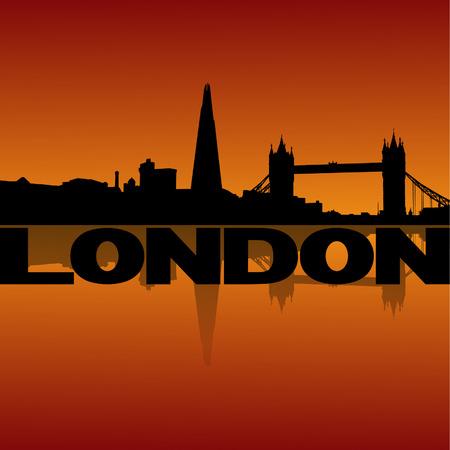 abstract london: London skyline reflected at sunset vector illustration