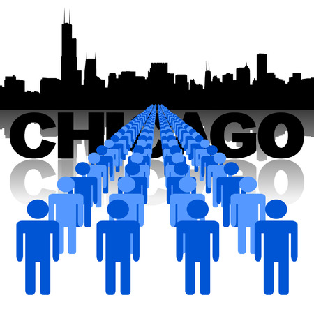 chicago skyline: Lines of people with Chicago skyline vector illustration