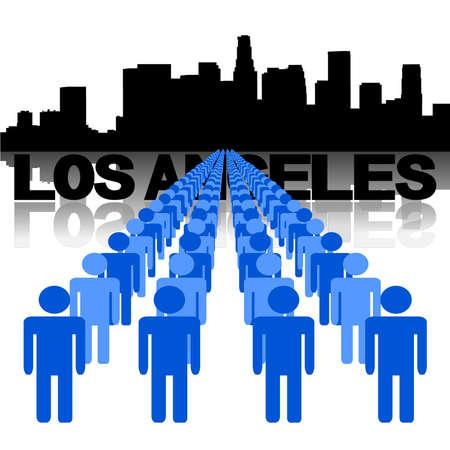 los angeles: Schlangen von Menschen mit Skyline von Los Angeles Vektor-Illustration Illustration