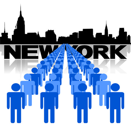 new york skyline: Lines of people with New York skyline vector illustration