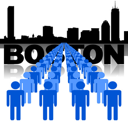 multitude: Lines of people with Boston skyline vector illustration Illustration