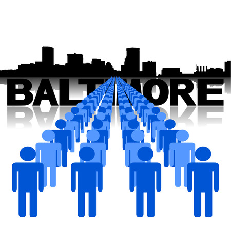 baltimore: Lines of people with Baltimore skyline vector illustration