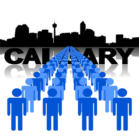 Lines of people with Calgary skyline vector illustration Vector