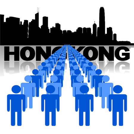 Lines of people with Hong Kong skyline vector illustration Vector