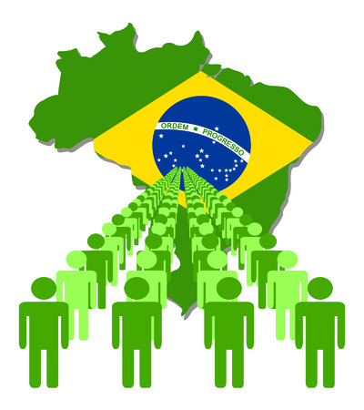 multitude: Lines of people with Brazil map flag vector illustration