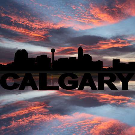 calgary: Calgary skyline reflected with text sunset illustration Stock Photo