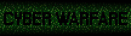 cyber warfare: Cyber warfare text on hex code illustration