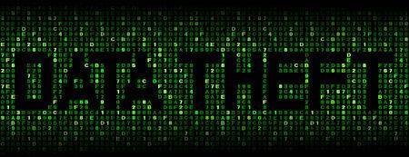 data theft: Data Theft text on hex code illustration