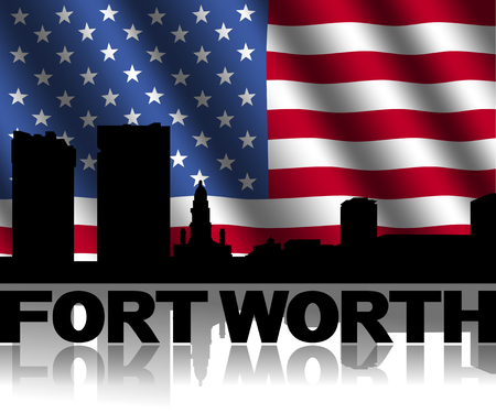Fort Worth skyline and text reflected with rippled American flag illustration illustration