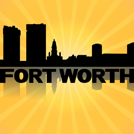 Fort Worth skyline reflected with sunburst illustration illustration