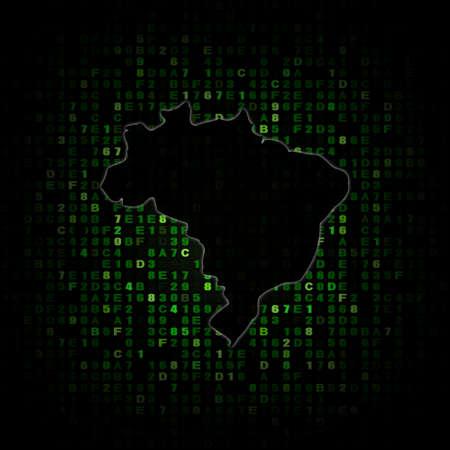 hex: Brazil map silhouette on hex code illustration