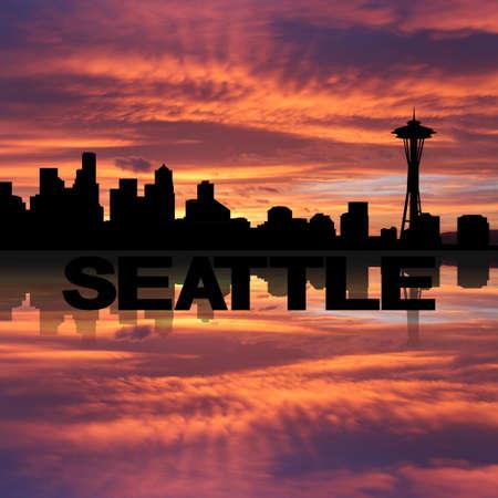 seattle skyline: Seattle skyline reflected with text sunset illustration Stock Photo