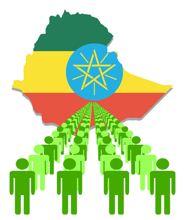 ethiopia abstract: Lines of people with Ethiopia map flag vector illustration