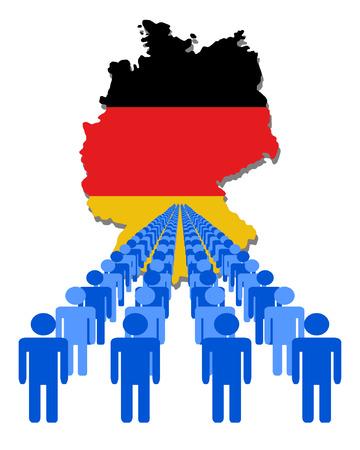 multitude: L�neas de las personas con la ilustraci�n de bandera de mapa vectorial Alemania