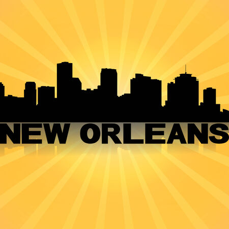 New Orleans skyline reflected with sunburst illustration illustration