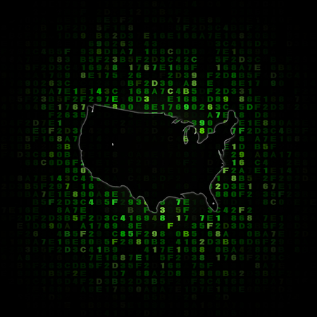USA Map Silhouette On Hex Code Illustration Stock Photo, Picture And ...