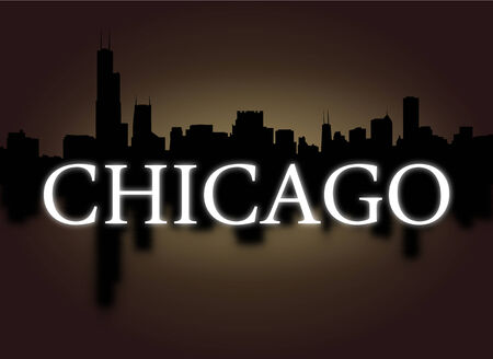 dramatic sky: Chicago skyline reflected with dramatic sky and text illustration