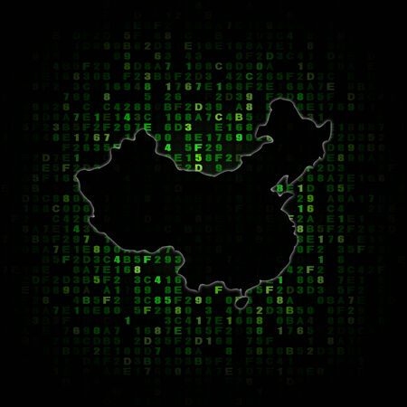 hex: China map silhouette on hex code illustration