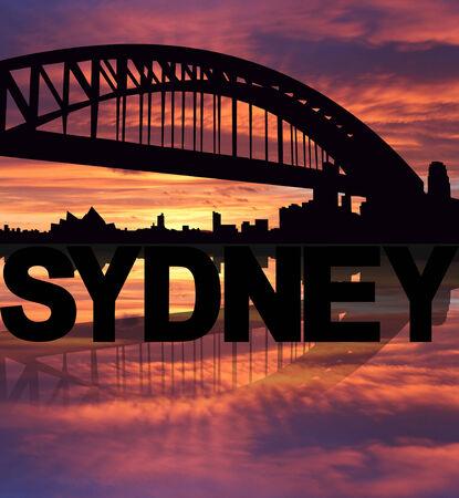 sydney skyline: Sydney skyline reflected with text sunset illustration
