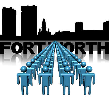 Lines of people with Fort Worth skyline illustration illustration