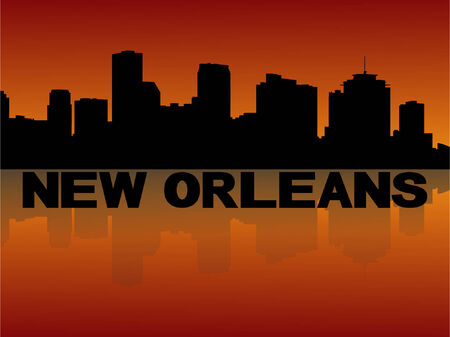 new orleans: New Orleans skyline reflected at sunset vector illustration